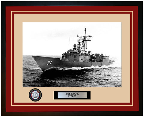 USS STARK FFG-31 Framed Navy Ship Photo Burgundy