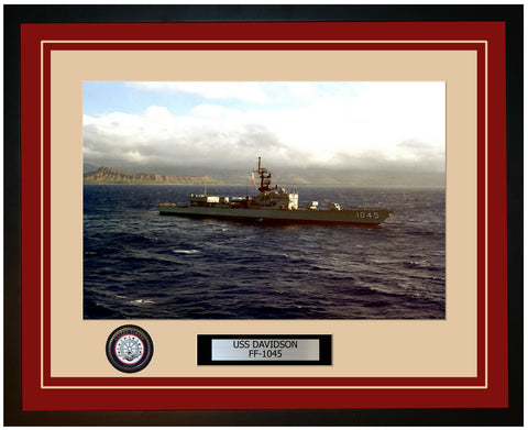 USS DAVIDSON FF-1045 Framed Navy Ship Photo Burgundy