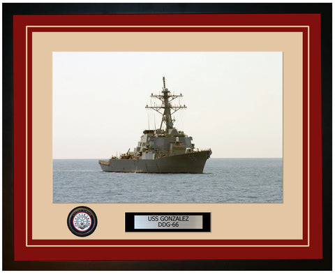 USS GONZALEZ DDG-66 Framed Navy Ship Photo Burgundy