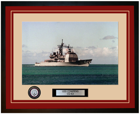 USS COWPENS CG-63 Framed Navy Ship Photo Burgundy
