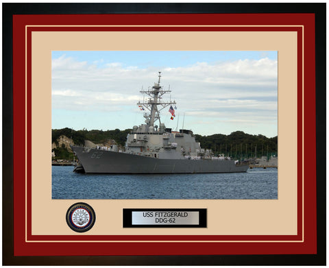 USS FITZGERALD DDG-62 Framed Navy Ship Photo Burgundy