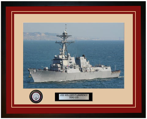 USS WILLIAM P LAWRENCE DDG-110 Framed Navy Ship Photo Burgundy