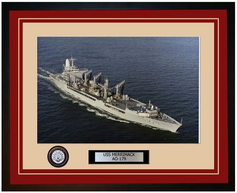 USS MERRIMACK AO-179 Framed Navy Ship Photo Burgundy