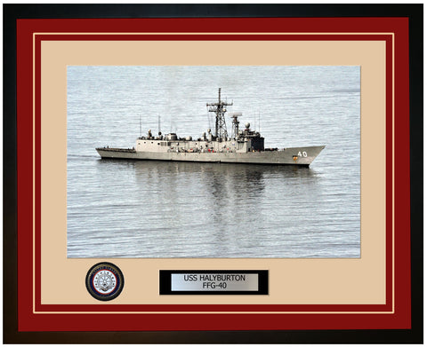 USS HALYBURTON FFG-40 Framed Navy Ship Photo Burgundy