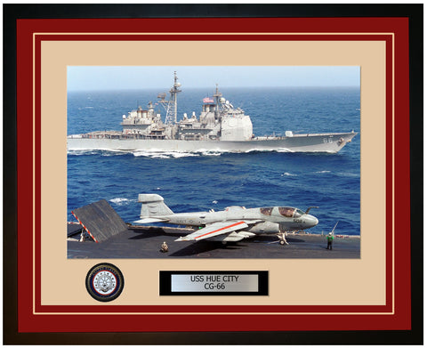 USS HUE CITY CG-66 Framed Navy Ship Photo Burgundy