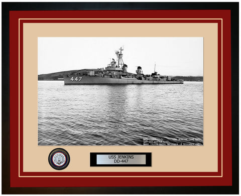 USS JENKINS DD-447 Framed Navy Ship Photo Burgundy