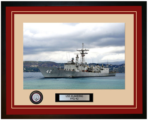 USS KLAKRING FFG-42 Framed Navy Ship Photo Burgundy