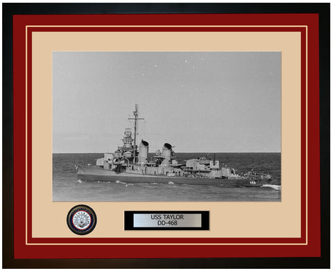 USS TAYLOR DD-468 Framed Navy Ship Photo Burgundy