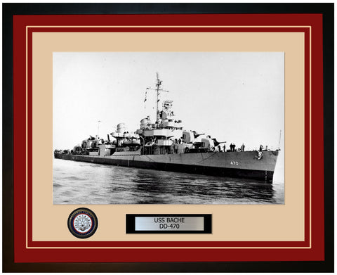 USS BACHE DD-470 Framed Navy Ship Photo Burgundy