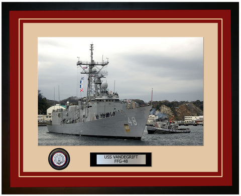 USS VANDEGRIFT FFG-48 Framed Navy Ship Photo Burgundy