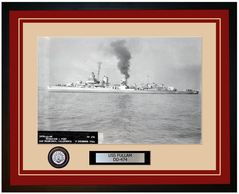 USS FULLAM DD-474 Framed Navy Ship Photo Burgundy