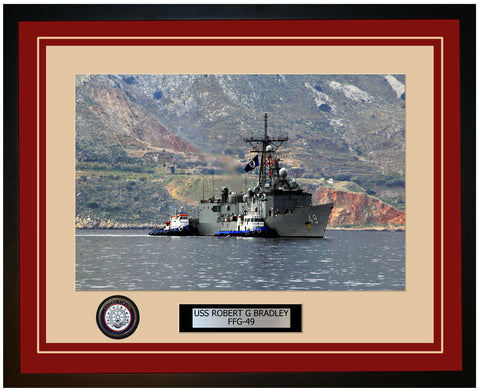 USS ROBERT G BRADLEY FFG-49 Framed Navy Ship Photo Burgundy