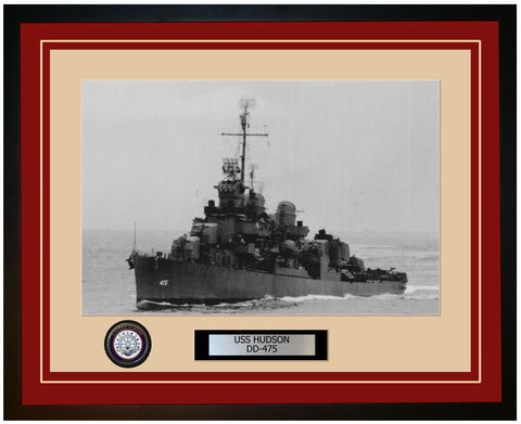 USS HUDSON DD-475 Framed Navy Ship Photo Burgundy