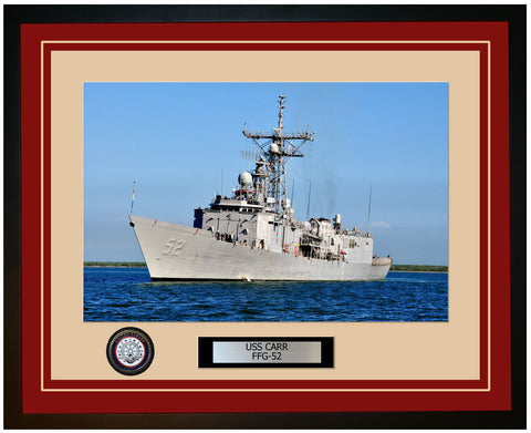 USS CARR FFG-52 Framed Navy Ship Photo Burgundy