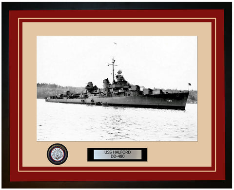 USS HALFORD DD-480 Framed Navy Ship Photo Burgundy