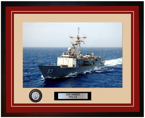 USS HAWES FFG-53 Framed Navy Ship Photo Burgundy