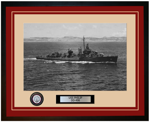 USS PHILIP DD-498 Framed Navy Ship Photo Burgundy
