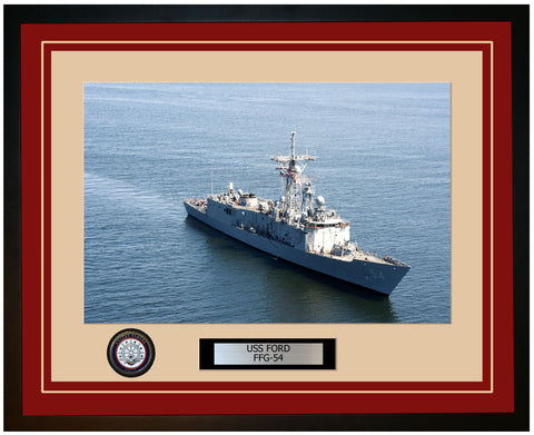 USS FORD FFG-54 Framed Navy Ship Photo Burgundy