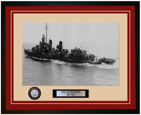 USS SCHROEDER DD-501 Framed Navy Ship Photo Burgundy