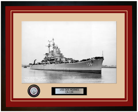 USS DES MOINES CA-134 Framed Navy Ship Photo Burgundy