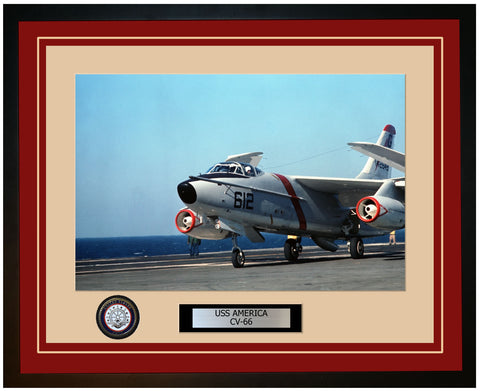 USS AMERICA CV-66 Framed Navy Ship Photo Burgundy