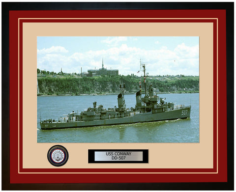 USS CONWAY DD-507 Framed Navy Ship Photo Burgundy