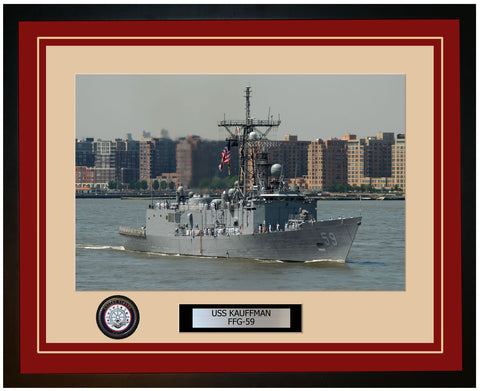 USS KAUFFMAN FFG-59 Framed Navy Ship Photo Burgundy