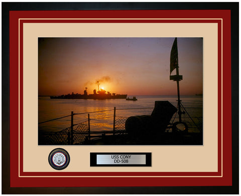 USS CONY DD-508 Framed Navy Ship Photo Burgundy