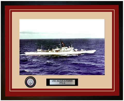 USS JULIUS A FURER FFG-6 Framed Navy Ship Photo Burgundy