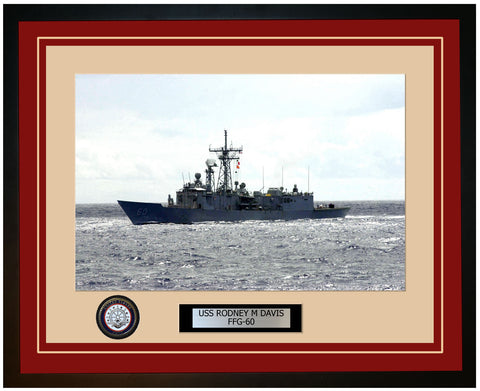 USS RODNEY M DAVIS FFG-60 Framed Navy Ship Photo Burgundy