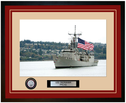 USS INGRAHAM FFG-61 Framed Navy Ship Photo Burgundy