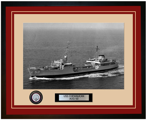 USS CHEWAUCAN AOG-50 Framed Navy Ship Photo Burgundy