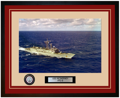 USS MCINERNEY FFG-8 Framed Navy Ship Photo Burgundy