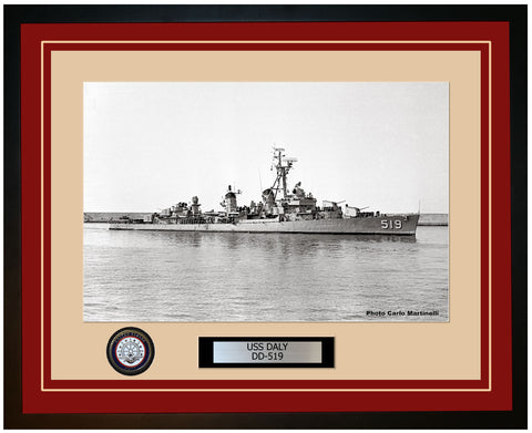 USS DALY DD-519 Framed Navy Ship Photo Burgundy