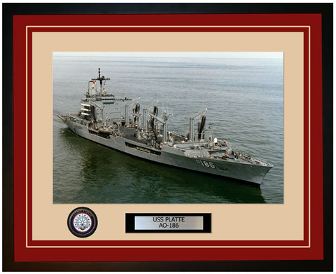 USS PLATTE AO-186 Framed Navy Ship Photo Burgundy