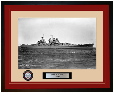 USS BOSTON CA-69 Framed Navy Ship Photo Burgundy