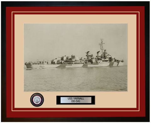 USS YARNALL DD-541 Framed Navy Ship Photo Burgundy