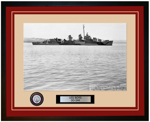 USS BOYD DD-544 Framed Navy Ship Photo Burgundy