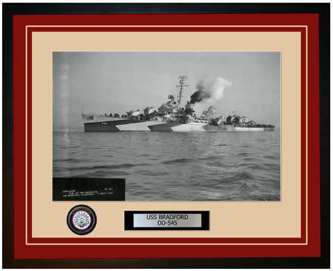 USS BRADFORD DD-545 Framed Navy Ship Photo Burgundy