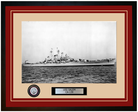 USS SALEM CA-139 Framed Navy Ship Photo Burgundy