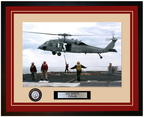 USS NIMITZ CVN-68 Framed Navy Ship Photo Burgundy
