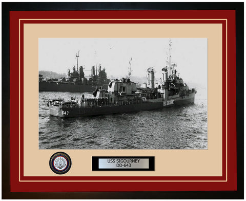 USS SIGOURNEY DD-643 Framed Navy Ship Photo Burgundy