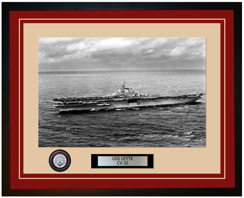 USS LEYTE CV-32 Framed Navy Ship Photo Burgundy