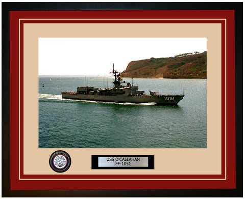 USS O'CALLAHAN FF-1051 Framed Navy Ship Photo Burgundy