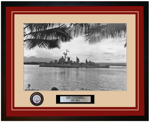 USS COGSWELL DD-651 Framed Navy Ship Photo Burgundy