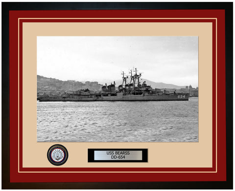 USS BEARSS DD-654 Framed Navy Ship Photo Burgundy