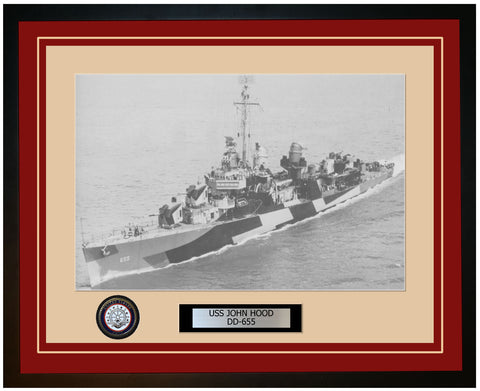 USS JOHN HOOD DD-655 Framed Navy Ship Photo Burgundy