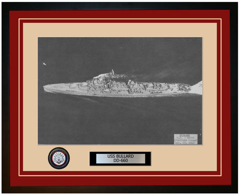 USS BULLARD DD-660 Framed Navy Ship Photo Burgundy