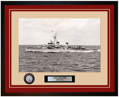 USS GATLING DD-671 Framed Navy Ship Photo Burgundy