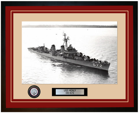USS HEALY DD-672 Framed Navy Ship Photo Burgundy